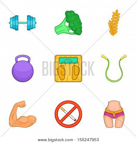 Correct way of life icons set. Cartoon illustration of 9 correct way of life vector icons for web