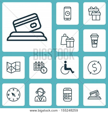 Set Of Travel Icons On Money Trasnfer, Present And Appointment Topics. Editable Vector Illustration.