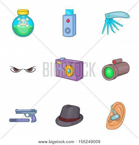Detective icons set. Cartoon illustration of 9 detective vector icons for web