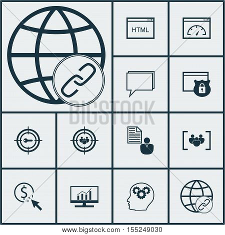 Set Of Advertising Icons On Conference, Security And Keyword Marketing Topics. Editable Vector Illus