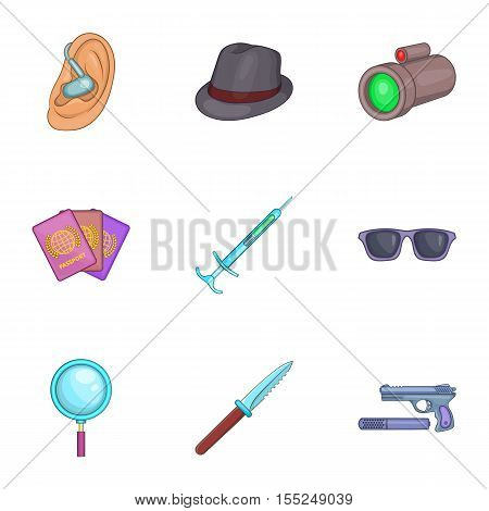 Agent icons set. Cartoon illustration of 9 agent vector icons for web