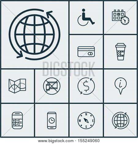 Set Of Traveling Icons On Road Map, World And Takeaway Coffee Topics. Editable Vector Illustration.