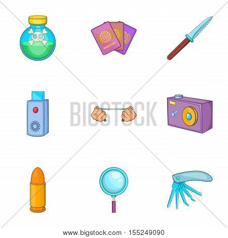 Spy icons set. Cartoon illustration of 9 spy vector icons for web