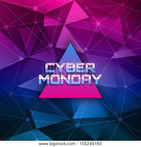 Cyber Monday vector background. Sale illustration. Abstract future technology