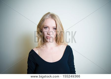 Smirking Young Blonde Woman Portrait