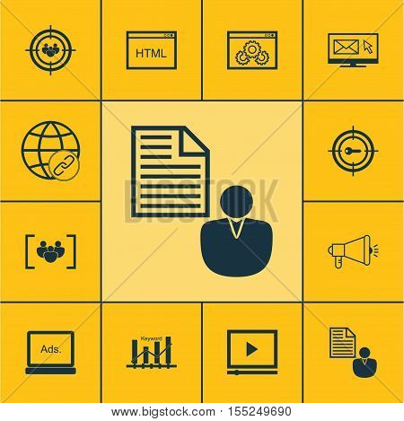 Set Of Advertising Icons On Coding, Media Campaign And Video Player Topics. Editable Vector Illustra