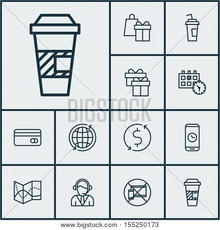 Set Of Travel Icons On Shopping, Takeaway Coffee And Appointment Topics. Editable Vector Illustratio