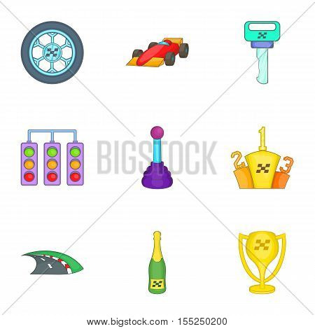 Association of racers icons set. Cartoon illustration of 9 association of racers vector icons for web