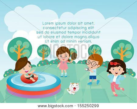 kids at playground,children in the playground, Kids with toys, Template for advertising brochure, child character, Vector Illustration