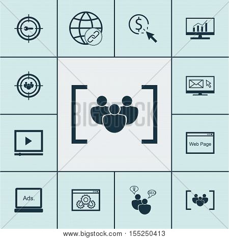 Set Of Advertising Icons On Seo Brainstorm, Newsletter And Website Topics. Editable Vector Illustrat