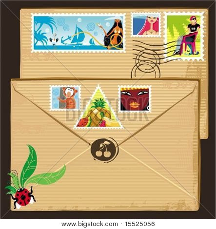 Vacation tags set on brown vintage envelope. To see similar,  please VISIT MY PORTFOLIO