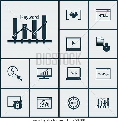 Set Of Marketing Icons On Report, Website Performance And Security Topics. Editable Vector Illustrat