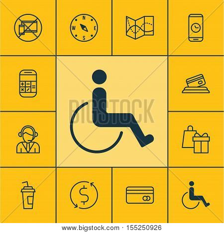 Set Of Travel Icons On Accessibility, Forbidden Mobile And Drink Cup Topics. Editable Vector Illustr