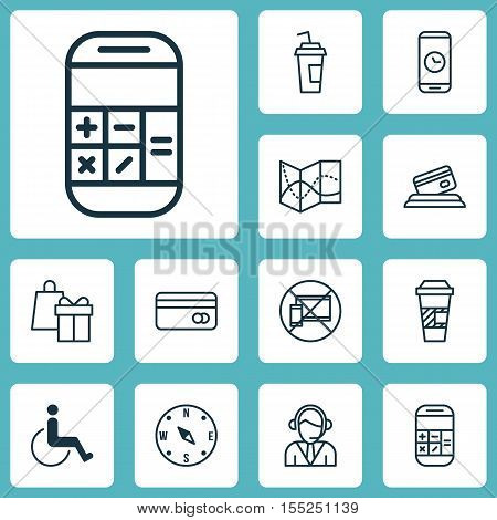 Set Of Traveling Icons On Calculation, Call Duration And Accessibility Topics. Editable Vector Illus