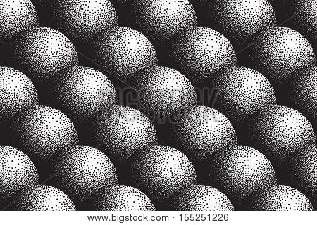 Vector hand made dotwork background in retro and vintage style. Abstract dotted stippling engraving texture. Artistic 3d illusion art illustration. Hand drawn ink work