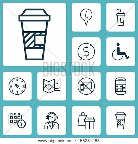 Set Of Travel Icons On Locate, Takeaway Coffee And Road Map Topics. Editable Vector Illustration. In