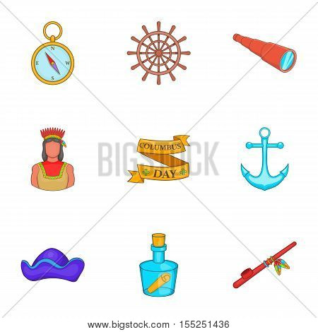 Discovery of America icons set. Cartoon illustration of 9 discovery of America vector icons for web