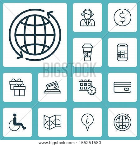 Set Of Transportation Icons On Present, Calculation And Accessibility Topics. Editable Vector Illust