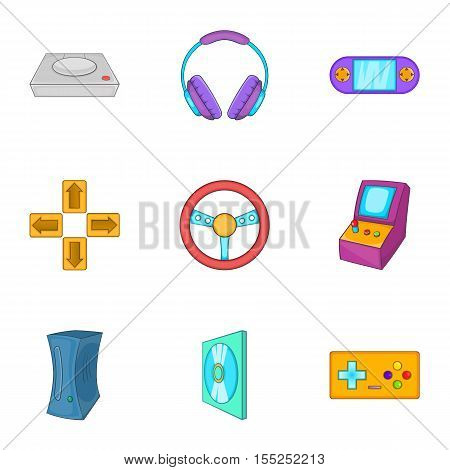Game console icons set. Cartoon illustration of 9 game console vector icons for web