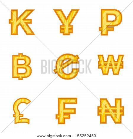 Money of countries icons set. Cartoon illustration of 9 money of countries vector icons for web