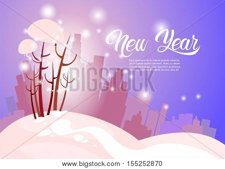 Snowy Silhouette City Happy New Year Merry Christmas Greeting Card Banner Flat Vector Illustration