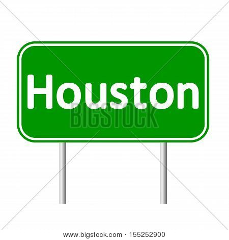 Houston green road sign isolated on white background.