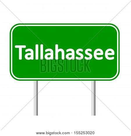 Tallahassee green road sign isolated on white background.