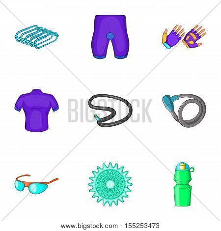 Cycling icons set. Cartoon illustration of 9 cycling vector icons for web