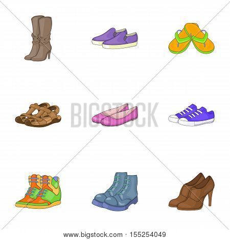 Foot care icons set. Cartoon illustration of 9 foot care vector icons for web