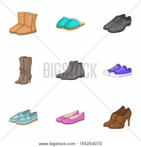 Types of shoes icons set. Cartoon illustration of 9 types of shoes vector icons for web