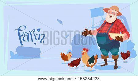 Farmer Feed Chicken Breeding Hen For Food Farm Flat Vector Illustration