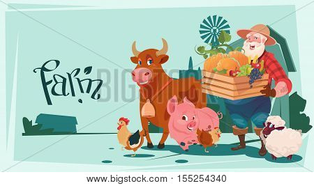 Farmer Hold Box With Vegetables Breeding Animals Farmland Background Flat Vector Illustration