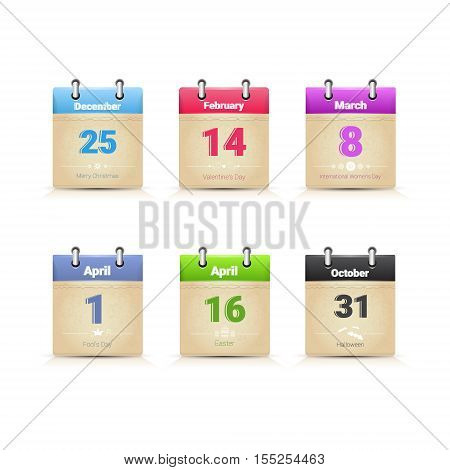 Calendar Data Page Collection Main Traditional Holday Days Set Flat Vector Illustration