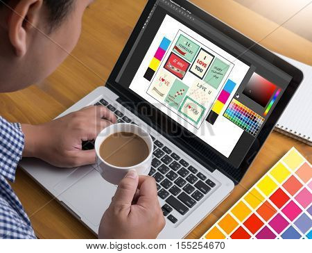 Creative Designer Graphic Designer At Work. Color Swatch Samples, Illustrator Graphic Designer Worki