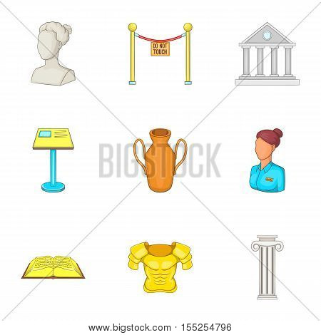 Gallery in museum icons set. Cartoon illustration of 9 gallery in museum vector icons for web