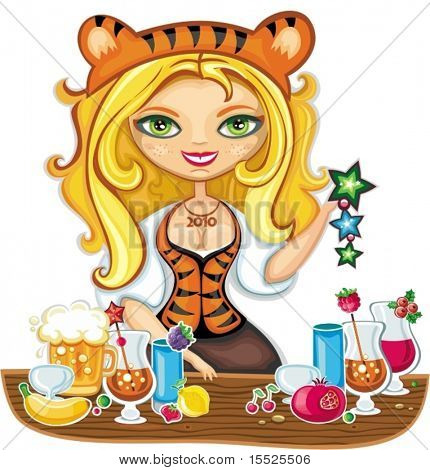 Vector illustration of cute bartender girl wearing costume of Tiger (symbol of 2010 year), serving different drinks at New year party.