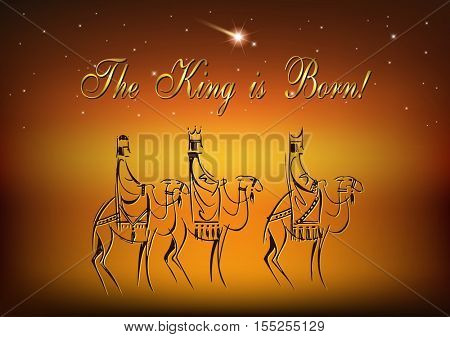 Stylized Biblical Christmas illustration: three Wise Men are visiting the new King of Jerusalem Jesus Christ after His birth.