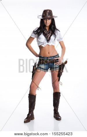 Young woman dressed in Western style on isolated background