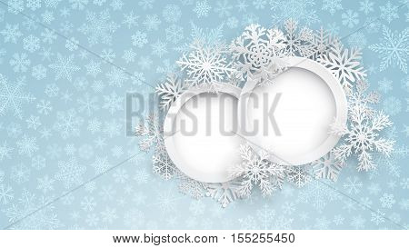 Christmas Background With Two Round Frames And Snowflakes