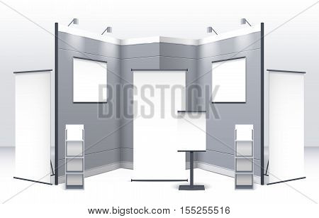 Exhibition stand template with displays shelves signboards and booths in gray colors isolated vector illustration
