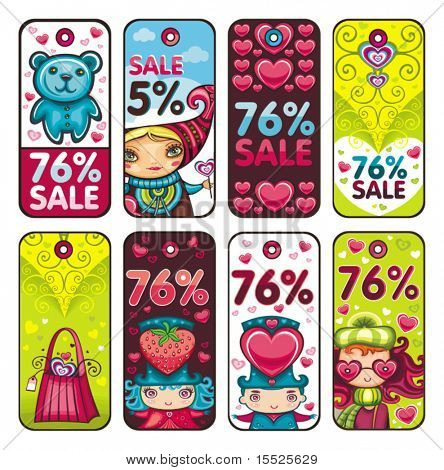 Valentine's day colorful tags
