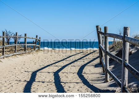Pathway to beach lined with fencing at Sandbridge Beach in Virginia Beach, Virginia.