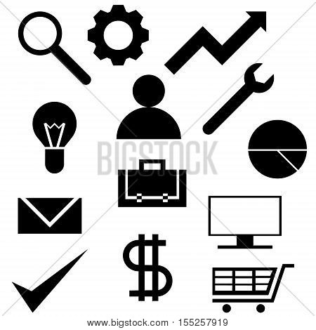 A collection of thirteen icons business and web sites