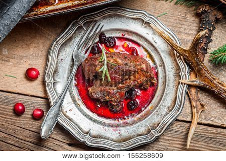 Fresh Venison With Cranberry Sauce And Rosemary