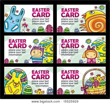 Easter cards vector set
