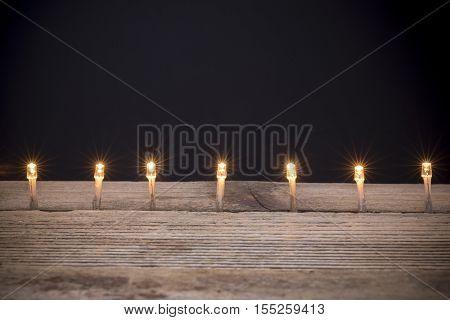 Christmas led lights against black bakground