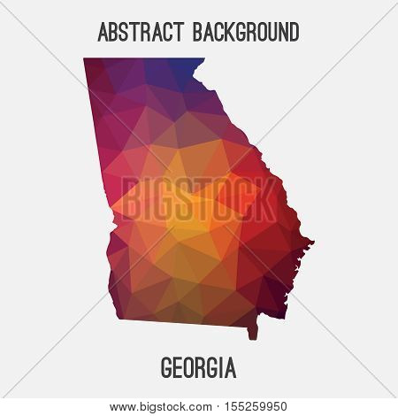 Georgia map in geometric polygonal,mosaic style.Abstract tessellation,modern design background,low poly. Vector illustration. poster
