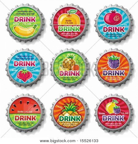 fruity bottle caps 3 - vector set.