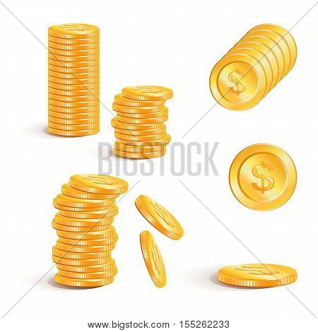 Dollar money. Stacks of gold coins, vector. Dollar gold coins with Dollar signs.  Business concept.