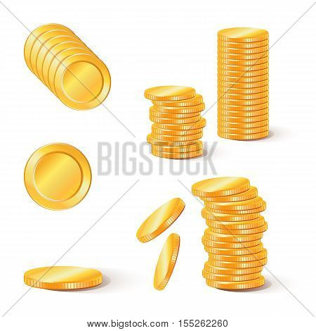 Stacks of gold coins. Collection of illustrations, icons of gold coins.. Business and banking objects.